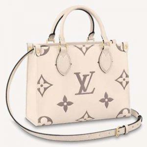 Louis Vuitton LV Women Onthego PM Tote Monogram Empreinte Cowhide Leather-Beige