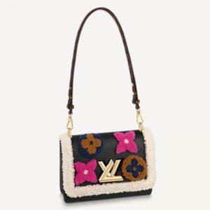 Louis Vuitton LV Women Twist MM Chain Bag Grained Cowhide Leather Monogram Canvas