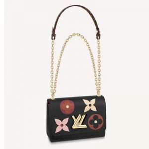 Louis Vuitton LV Women Twist MM Chain Handbag Grained Cowhide Leather Monogram Canvas