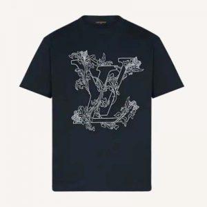 Louis Vuitton Men Embroidered LV Flower T-Shirt Cotton Jersey Regular Fit-Navy