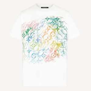 Louis Vuitton Men Front Printed Pastel Monogram T-Shirt Cotton White Regular Fit