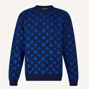 Louis Vuitton Men Full Monogram Jacquard Crew Neck Cotton Blue Regular Fit