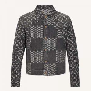 Louis Vuitton Men Giant Damier Waves Monogram Denim Jacket Cotton Regular Fit-Black
