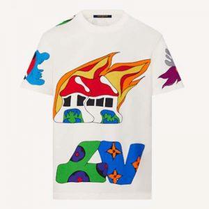 Louis Vuitton Men LV Printed T-Shirt Cotton White Regular Fit