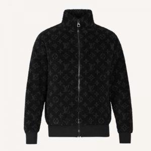 Louis Vuitton Men Monogram Jacquard Fleece Zip-Through Jacket Polyester Black Slightly Loose Fit