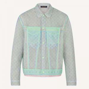 Louis Vuitton Men Multicolor Tulle Denim Jacket Polyamide Slightly Loose Fit