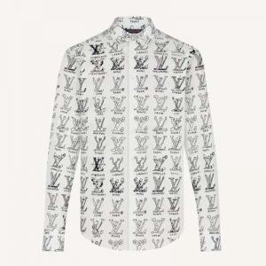 Louis Vuitton Men Placed Graphic Shirt LV Cartoons Cotton Regular Fit-White