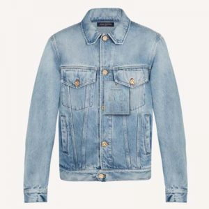 Louis Vuitton Men Staples Edition DNA Denim Jacket Cotton Indigo Regular Fit-Blue