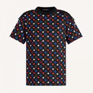 Louis Vuitton Women Game On Contrast Back Cotton T-Shirt Monogram Loop Details-Black