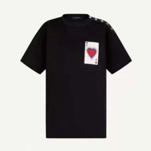 Louis Vuitton Women Game On Thread-Embroidered T-Shirt Regular Fit-Black