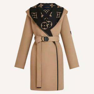 Louis Vuitton Women Giant Monogram Jacquard Wrap Coat in Camel Wool Regular Fit