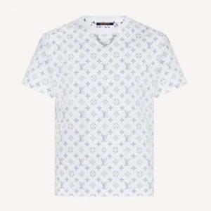 Louis Vuitton Women LV Escale Printed T-Shirt Monogram Cotton White Regular Fit