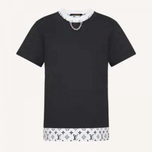 Louis Vuitton Women Layered Black T-Shirt Jersey Contrasting Peekaboo Monogram Print