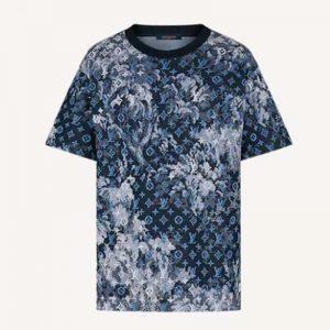 Louis Vuitton Women Tapestry Monogram T-Shirt Cotton Blue Regular Fit