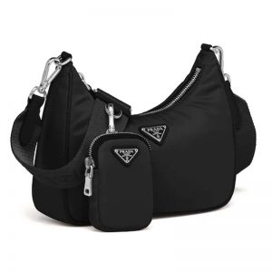 Prada Women Prada Re-Edition 2005 Nylon Bag Saffiano Details-Black