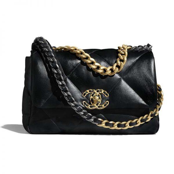 Chanel Women 19 Flap Bag Lambskin Gold Silver-Tone Ruthenium-Finish Metal Black