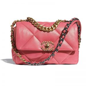 Chanel Women 19 Flap Bag Lambskin Gold Silver-Tone Ruthenium-Finish Metal Coral