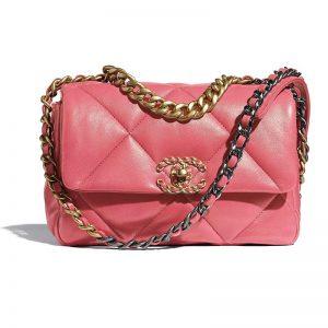 Chanel Women 19 Flap Bag Lambskin Gold Silver-Tone Ruthenium-Finish Metal Coral