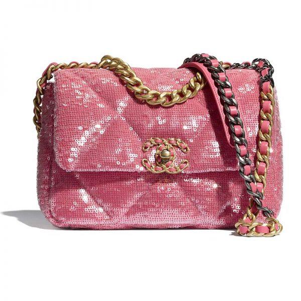Chanel Women 19 Flap Bag Sequins Calfksin Silver-Tone Gold-Tone Metal Coral