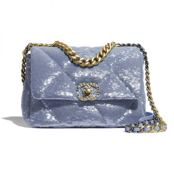 Chanel Women 19 Flap Bag Sequins Calfksin Silver-Tone Gold-Tone Metal Sky Blue