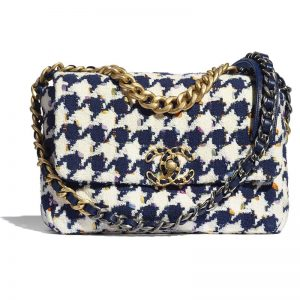 Chanel Women 19 Flap Bag Tweed Gold Silver-Tone Ruthenium-Finish Metal Ecru Navy Blue Multicolor