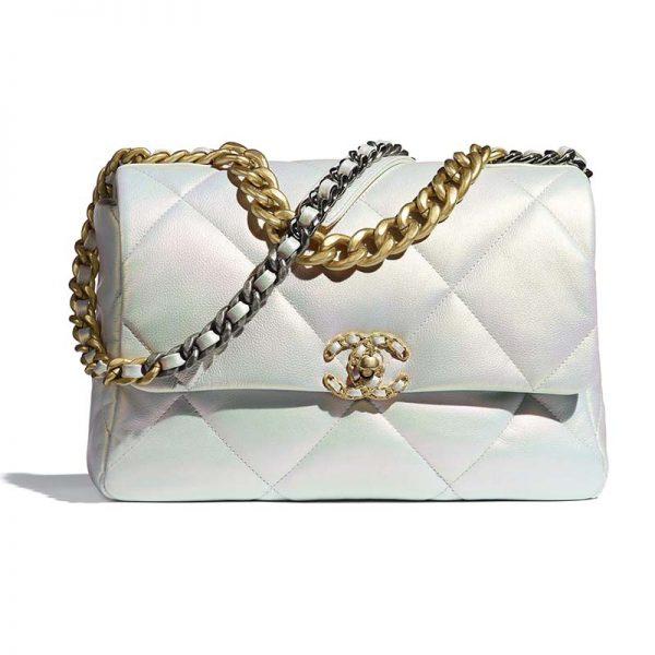 Chanel Women 19 Large Flap Bag Iridescent Calfskin Gold Silver-Tone & Ruthenium-Finish Metal White