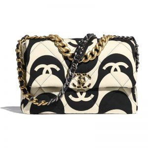 Chanel Women 19 Large Flap Bag Printed Fabric Gold Silver-Tone & Ruthenium-Finish Metal Black & Ecru
