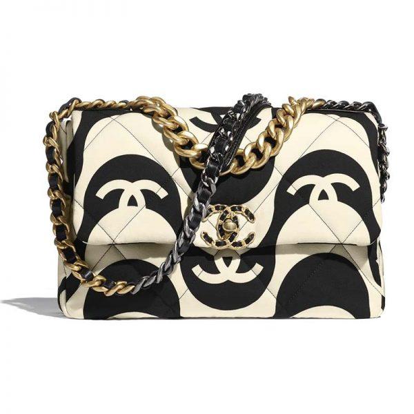 Chanel Women 19 Large Flap Bag Printed Fabric Gold Silver-Tone & Ruthenium-Finish Metal Black & Ecru