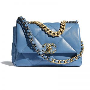 Chanel Women Chanel 19 Flap Bag Lambskin Gold Silver-Tone Ruthenium-Finish Metal Blue