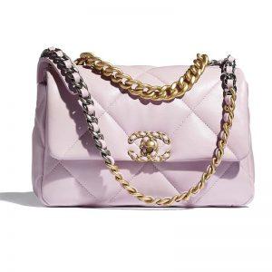 Chanel Women Chanel 19 Flap Bag Lambskin Gold Silver-Tone Ruthenium-Finish Metal Light Pink