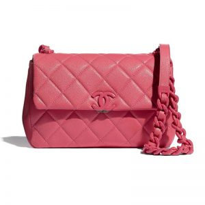 Chanel Women Flap Bag Grained Calfskin Lacquered Metal Coral