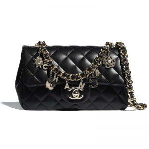 Chanel Women Flap Bag Lambskin Gold-Tone Metal Black