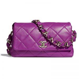 Chanel Women Flap Bag Lambskin & Gold-Tone Metal Purple