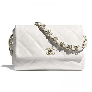 Chanel Women Large Flap Bag Lambskin & Gold-Tone Metal White