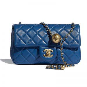Chanel Women Mini Flap Bag Lambskin & Gold-Tone Metal Blue