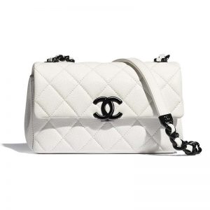 Chanel Women Small Flap Bag Grained Calfskin Lacquered Metal White Black