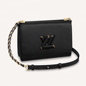 Louis Vuitton LV Women Twist MM Handbag M57517 in Grained Epi Calfskin-Black