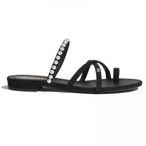 Chanel Women Mules Kid Suede Pearls & Strass Black 1.5 cm Heel
