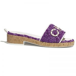 Chanel Women Mules Kid Suede & Pearls Beige 1.5 cm Heel