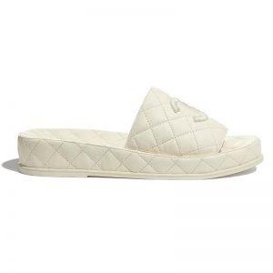 Chanel Women Mules Mules Lambskin Ecru 0.5 cm Heel