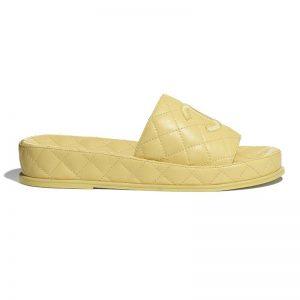 Chanel Women Mules Mules Lambskin Yellow 0.5 cm Heel
