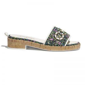 Chanel Women Mules Tweed Green Pink & Yellow 2.5 cm Heel