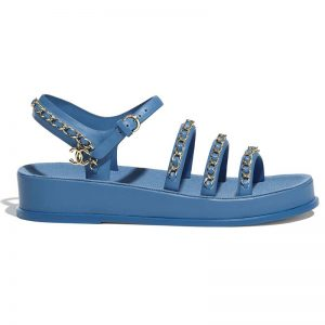 Chanel Women Sandals Calfskin Blue 5 mm Heel
