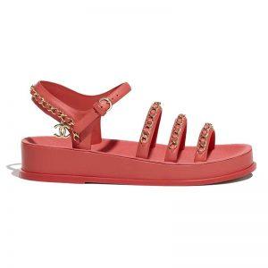 Chanel Women Sandals Calfskin Red 5 mm Heel