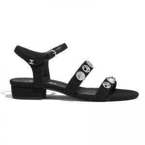 Chanel Women Sandals Cotton Tweed & Jewelry Black 2.5 cm Heel
