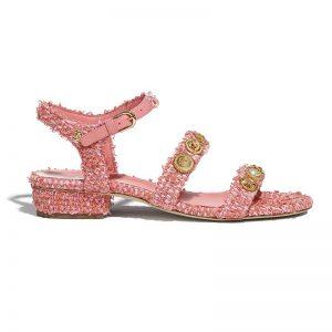 Chanel Women Sandals Cotton Tweed & Jewelry Coral & Pink 2.5 cm Heel