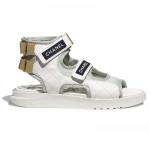 Chanel Women Sandals Goatskin Fabric & TPU White Light Grey & Navy Blue