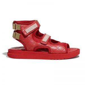 Chanel Women Sandals Goatskin Goatskin Fabric & TPU Red Dark Red & Light Pink