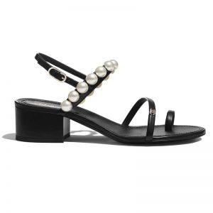 Chanel Women Sandals Lambskin & Pearls Black 4 cm Heel