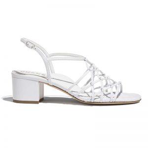 Chanel Women Sandals Lambskin White 5 cm Heel